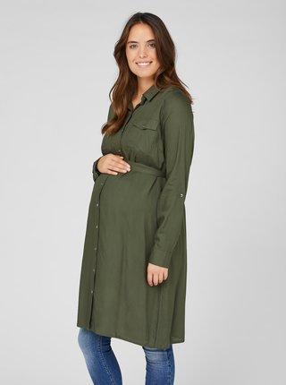 Kaki tehotenské košeľové šaty Mama.licious Mercy
