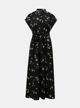 Čierne kvetované košeľové maxišaty VERO MODA Fallie