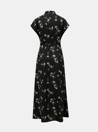 Černé květované košilové maxišaty VERO MODA Fallie