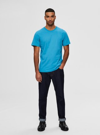 Modré basic tričko Selected Homme Norman
