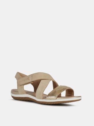 Béžové dámske kožené sandále Geox