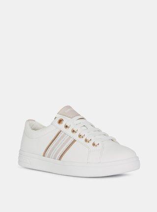 Biele dievčenské kožené tenisky Geox