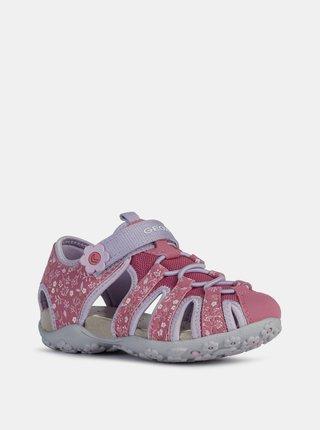 Ržové dievčenské vzorované kožené sandále Geox