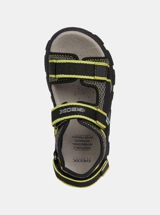 Zeleno-čierné klučičí sandály Geox