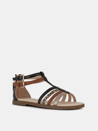 Hnedé dievčenské kožené sandále Geox