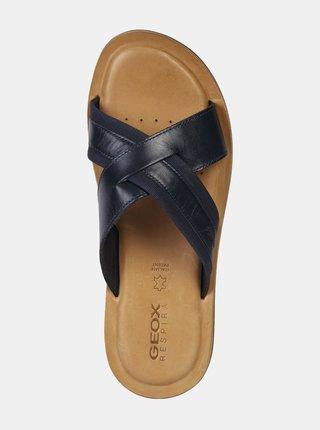 Čierne pánske kožené šľapky Geox