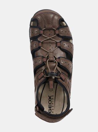 Hnědé pánské kožené sandály Geox Strada