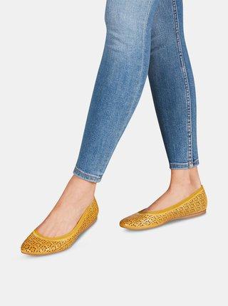 Žlté kožené vzorované baleríny Tamaris