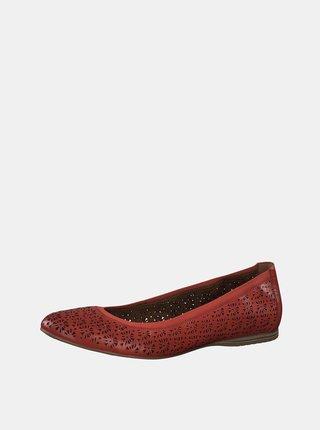 Červené kožené vzorované baleríny Tamaris