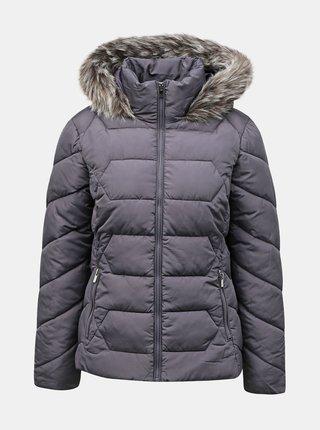 Tmavě šedá zimní prošívaná bunda Dorothy Perkins