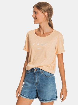 Světle oranžové tričko s potiskem Roxy