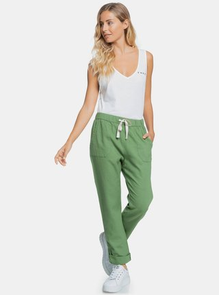 Zelené lnené nohavice s vreckami Roxy