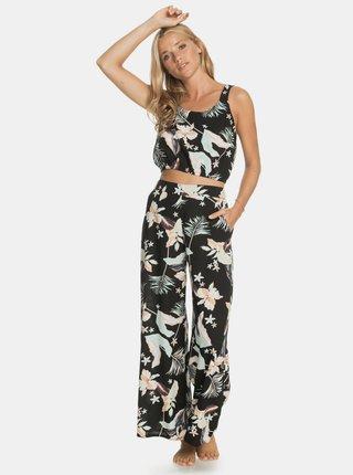 Černé květované široké kalhoty Roxy