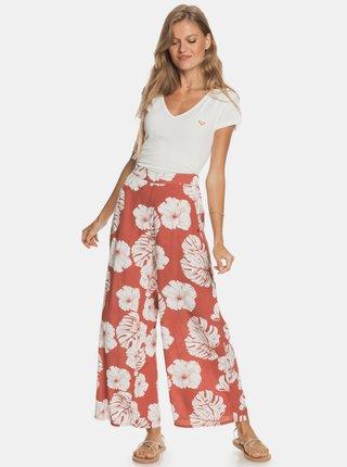Červené kvetované široké nohavice Roxy
