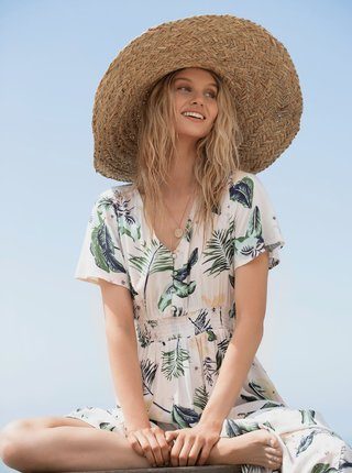 Béžový slamený klobúk Roxy