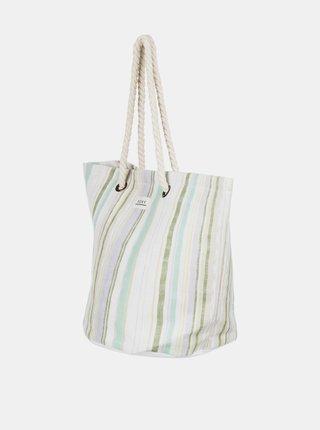 Zeleno-bílá pruhovaná plážová taška Roxy