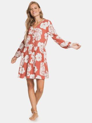 Cihlové květované šaty s knoflíky Roxy