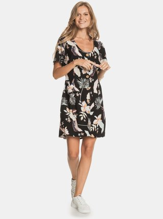 Černé květované šaty s knoflíky Roxy