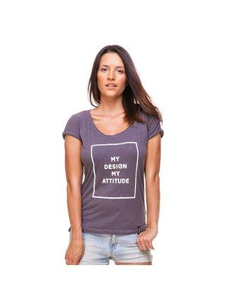 Šedé tričko s potiskem My Design My Attitude