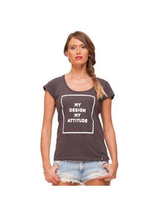 Tmavě šedé tričko s potiskem My Design My Attitude