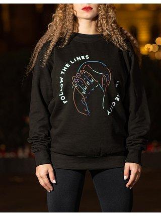 Černá oversize mikina s potiskem Follow the Lines