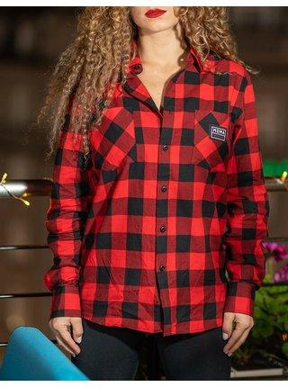Červená kostičkovaná košile s nášivkou Night Animal