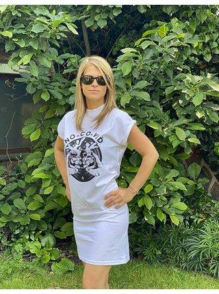Bílé šaty s potiskem NO-CO-VIĎ
