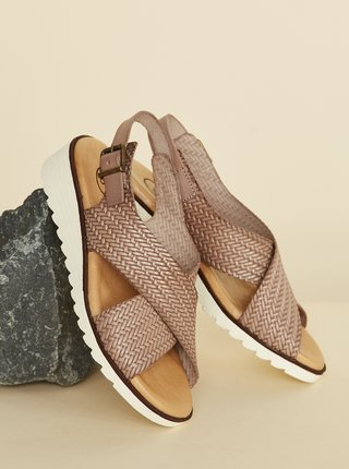 Hnědé kožené sandálky OJJU