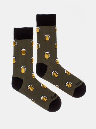 Kaki vzorované ponožky Fusakle Pojď na jedno