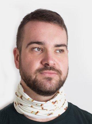 Krémový vzorovaný šátek 3v1 Fusakle