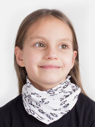 Biela detská vzorovaná šatka 3v1 Fusakle