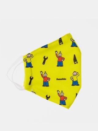 Žlté detská vzorované rúško Fusakle