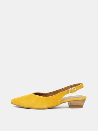 Žlté semišové baleríny Tamaris