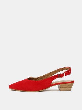 Červené semišové baleríny Tamaris