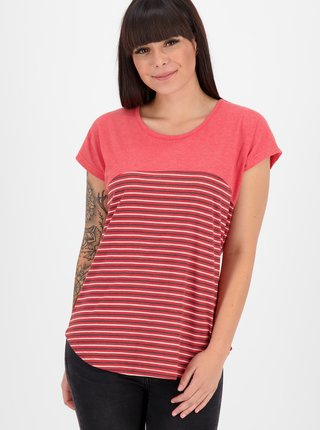 Červené dámske pruhované tričko Alife and Kickin