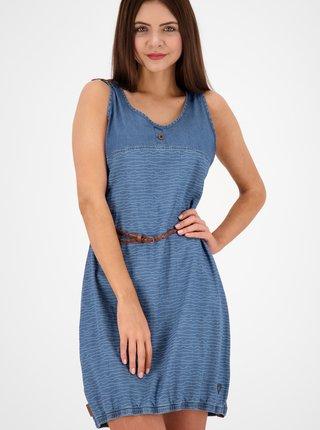 Modré vzorované rifľové šaty s opaskom Alife and Kickin