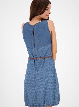 Modré vzorované džínové šaty s páskem Alife and Kickin