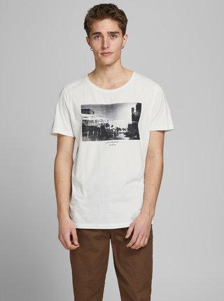 Bílé tričko s potiskem Jack & Jones Nobody