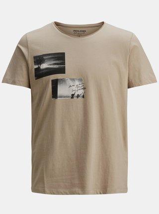 Béžové tričko s potlačou Jack & Jones Nobody