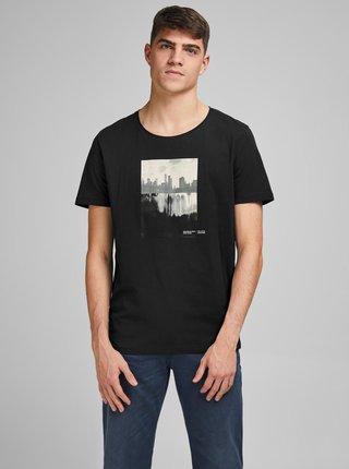 Čierne tričko s potlačou Jack & Jones Nobody