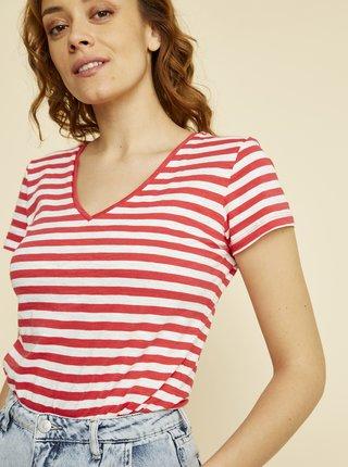 Bílo-červené dámské pruhované basic tričko ZOOT Baseline Aliki