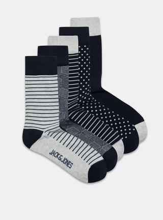 Sada piatich párov vzorovaných ponožiek v šedej a modrej farbe Jack & Jones