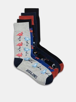 Sada piatich párov vzorovaných ponožiek v šedej a čiernej farbe Jack & Jones