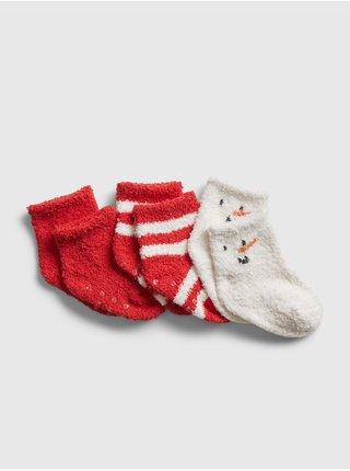 Červené holčičí ponožky GAP, 3 páry