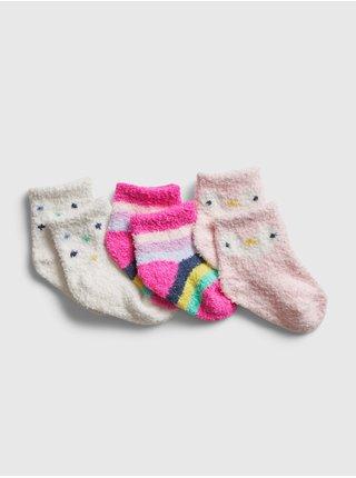 Růžové holčičí ponožky GAP, 3 páry