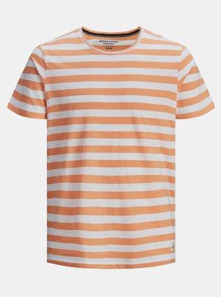 Oranžové pruhované tričko Jack & Jones Tons