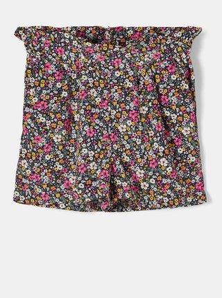 Ružovo-čierne dievčenské kvetované kraťasy name it Dera