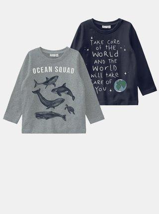 Sada dvou klučičích triček v šedé a modré barvě name it Vux