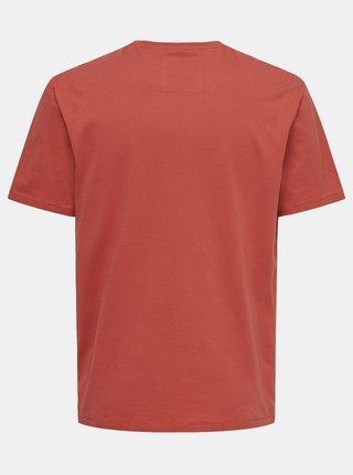 Červené tričko s potlačou ONLY & SONS Dexter