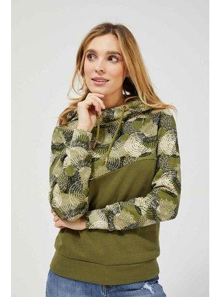 Moodo khaki mikina s kapucí